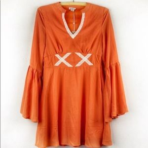 Love Riche Boho Tangerine Bell Sleeve Mini Dress